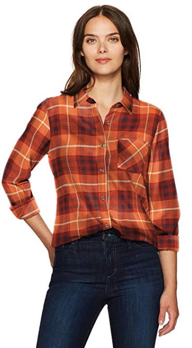 Tommy Hilfiger Women's Plaid Shirt Flannel Boyfriend Fit Burnt Brick Plaid