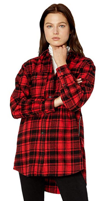 Tommy Hilfiger Womens Plaid Shirt Flannel Boyfriend Fit dark red check