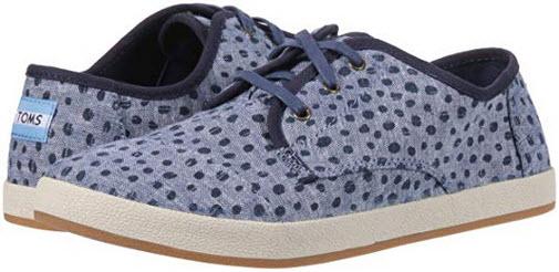 TOMS Women's Paseo Sneaker cornflower slub chambray torn dots
