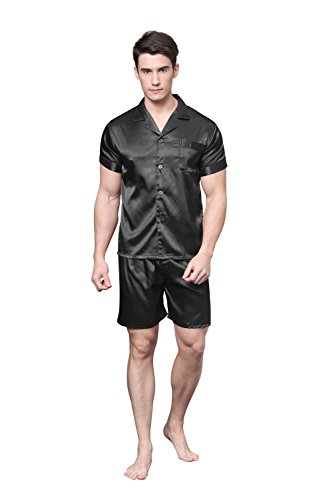 Tony & Candice Men's Short Sleeve Satin Pyjama Set With Shorts