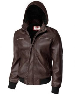 Tonyclo Men's Removable Hoodie Waist Length Motorcycle Faux Leather Jackets.