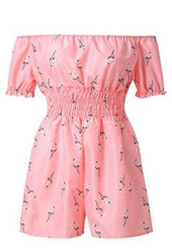 Topgee Women's Summer Short Sleeve Off Shoulder Floral Short Jumpsuit Rompers, pink