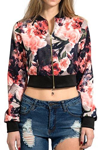Topia Women's Floral Crop Bomber Jacket
