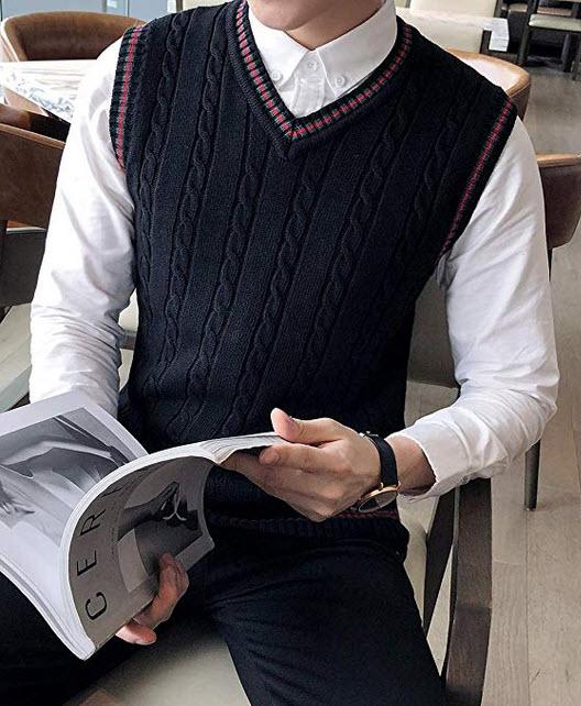 TOPTIE Men's V-Neck Cotton Cable Knit Sweater Vest Slim Fit Casual Waistcoat black