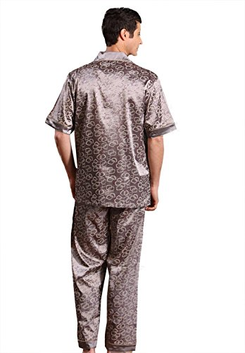 Tortor 1Bacha Men's Silk Like Print Sleepwear Short Sleeve Pajama Set