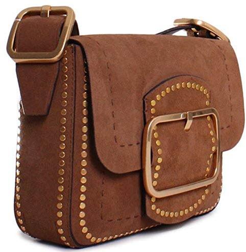 Tory Burch Sawyer Stud Ladies Small Suede Shoulder Bag