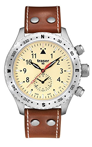 traser T5 Aviator Jungmeister Brown Leather Band Rotating Bezel Mens Watch 100190