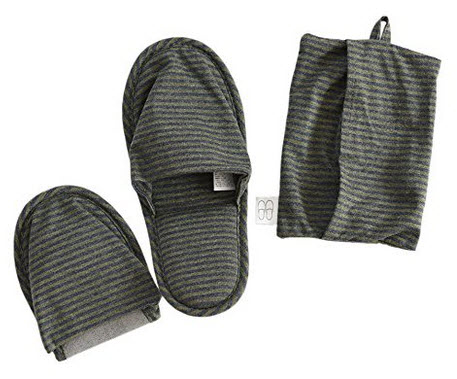Travel Slippers, HONOLULU CAT Cotton Soft Sole Foldable Travel Slippers with Pouch (Green) .