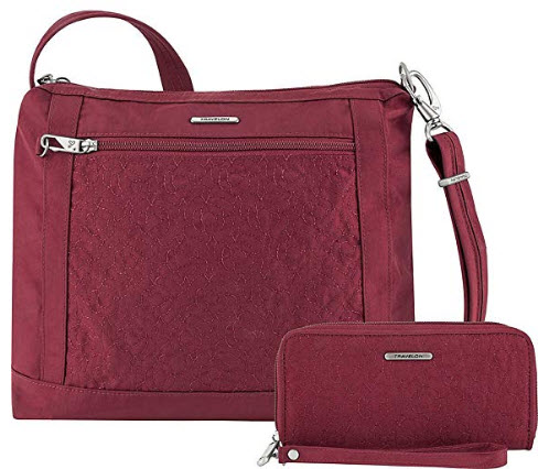 Travelon Anti-Theft Square Crossbody and Wallet Set – Medium RFID Lined Handbag for Travel ...