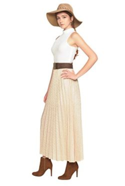 Trend Director Women's Maxi Gold Pleated Shimmery Skirt