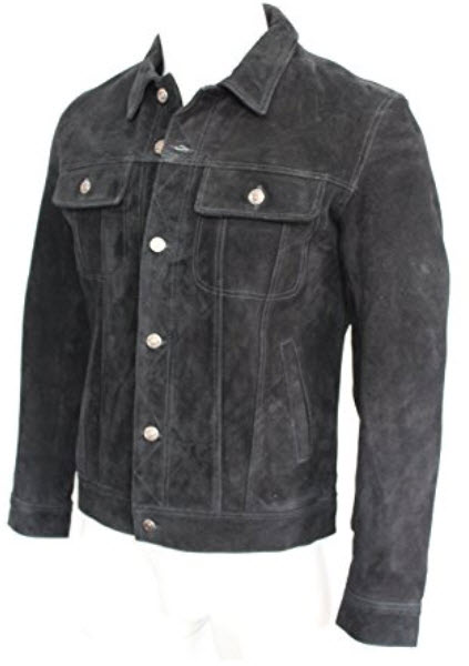 TREND SETTER Mens 1280 BLACK Suede Trucker Stylish Classic Casual Shirt Real Leather Jacket .