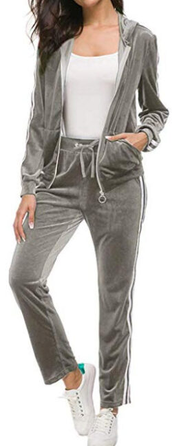 TrendyCosmo Sweatsuits for Women, 2 Piece Tracksuit Set Velvet Stripe Zipped Hooded Sweatshirts  ...