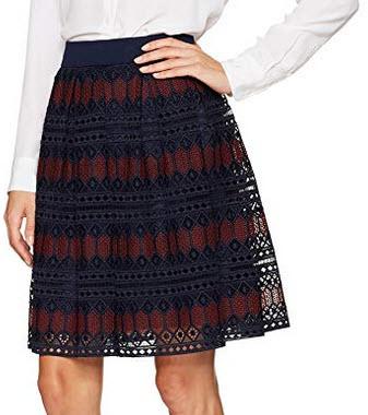 Trina Turk Women's Leland Diamond Lane Lace Skirt indigo currant