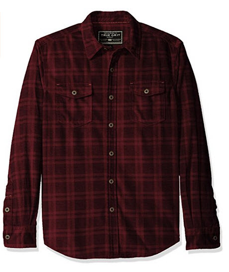 True Grit Men's Sueded Checks Long Sleeve Two Pocket Shirt .