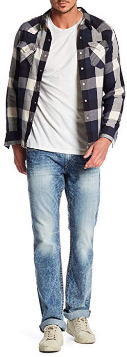 True Religion Men's Straight Leg Relaxed Fit Chainstitch Jeans w/Flaps in Mountain Face