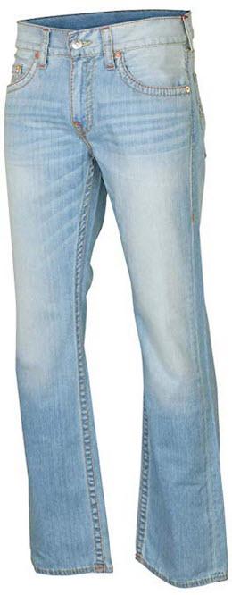 True Religion Men's Straight Old Multi Runstitch Denim Jeans running cree