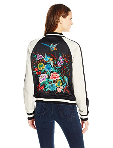 True Religion Women's Satin Floral Embroidered Bomber Jacket