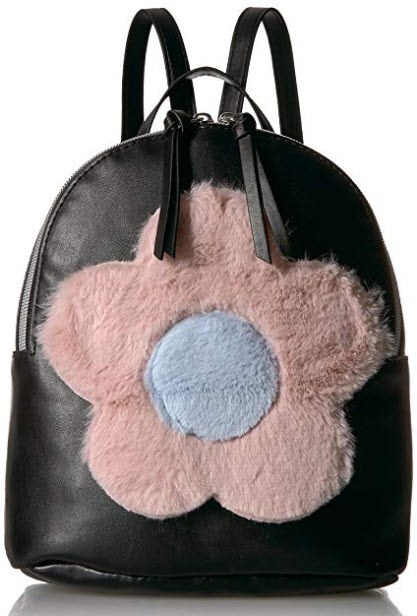 T-Shirt & Jeans Back Pack with Plush Flower, black