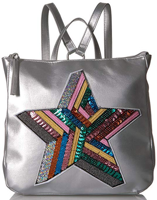 T-Shirt & Jeans Back Pack with Sequin Star, silver