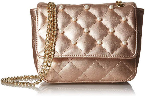 T-Shirt & Jeans Quilted Mini Flap with Pearls rose gold