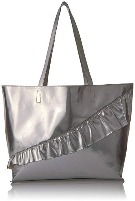 T-Shirt & Jeans Ruffle Tote silver