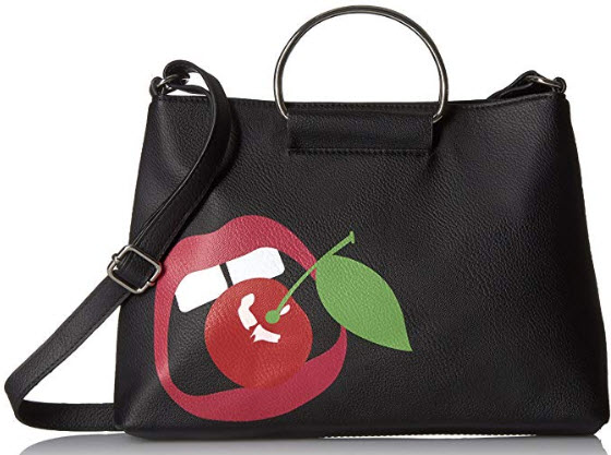 T-Shirt & Jeans Small Ring Bag with Lips,black