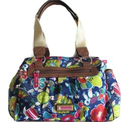 Turtle Power Landon Triple Section Satchel Floral Handbag