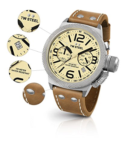 TW Steel CS13 Men's Canteen Brown Leather Strap Band Beige Dial Watch