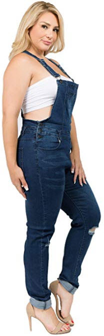 TwiinSisters Women's Plus Size Natural Curve Enhancing Slim Fitted Overalls with Comfort S ...
