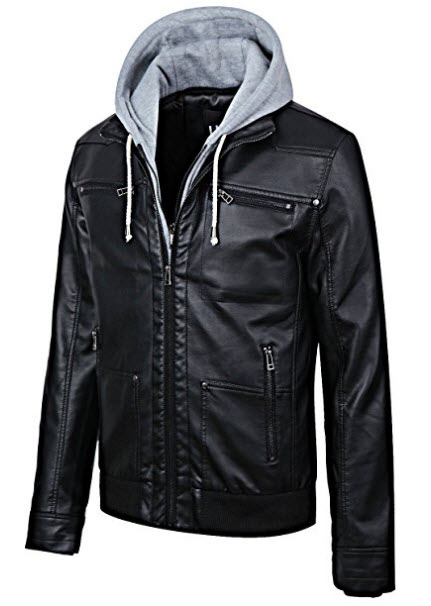 Ubon Mens Moto Faux Leather Mulit-Pockets Jacket with Removable Hood.