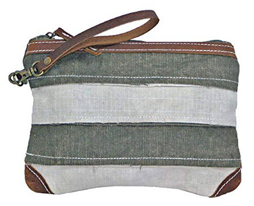 Uchi Canvas Holden Patchwork Wristlet Vintage Hand Bag Recycled Canvas Tent with Real Leather St ...