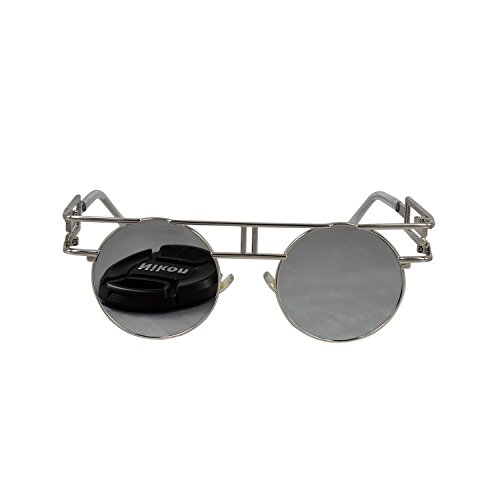Ucspai Gothic Steampunk Glasses Sunglasses in Silver Reflective Lens