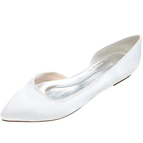 Uerescha Women's Elegant Sequins Flats Pionted Toe Wedding Ballet Bridal Shoes