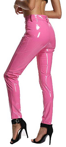 UKCNSEP Women's Sexy Shiny Liquid Pants PU Leather Stretch Trousers pink