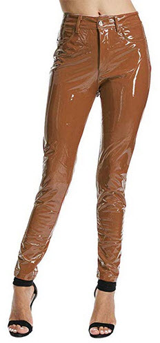 UKCNSEP Women's Sexy Shiny Liquid Pants PU Leather Stretch Trousers brown