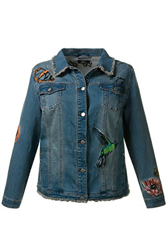 Ulla Popken Women's Plus Size Birds & Flowers Fringed Denim Jacket 712179