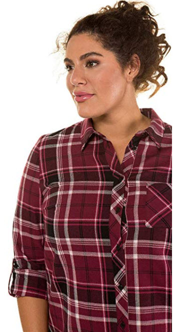 Ulla Popken Women's Plus Size Plaid Flannel Shirt 718706 wine red plaid.