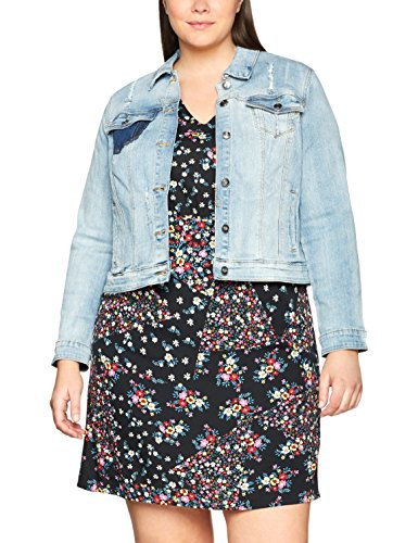 Ulla Popken Women's Plus Size Short Washed Denim Jacket 710319
