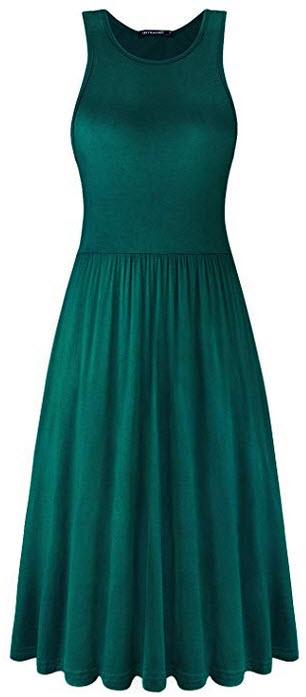 ULTRANICE Womens Plain Sleeveless Loose Pleated Knee Length Dresses Casual with Pockets green