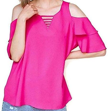 Umgee Women's Bohemian Layered Ruffle Sleeve Open Shoulder Blouse Tunic Top, hot pink