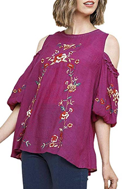 Umgee Women's Cold Shoulder Puffed Sleeve Embroidered Blouse, magenta