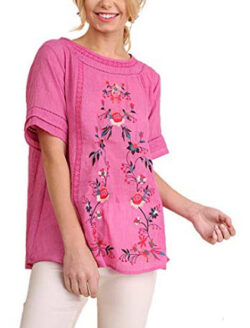 Umgee Women's Short Sleeve Embroidered Blouse, pink