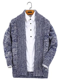 UNbox Men's Shawl Collar High-Low Hem Long Cardigan Knitted Sweater