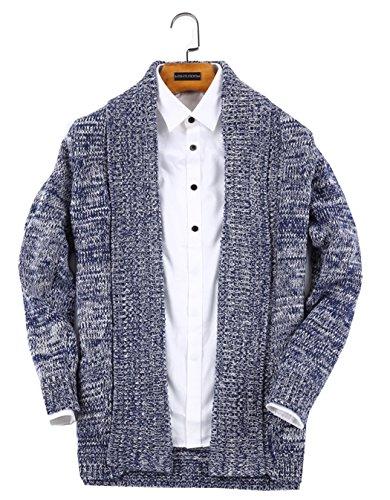 UNbox Men's Shawl Collar High-Low Hem Long Cardigan Knitted Sweater