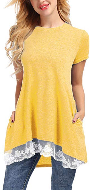 Uniboutique Women Short Sleeve Scoop Neck Lace Trim Flowy Tunic Top Blouse with Pockets, yellow