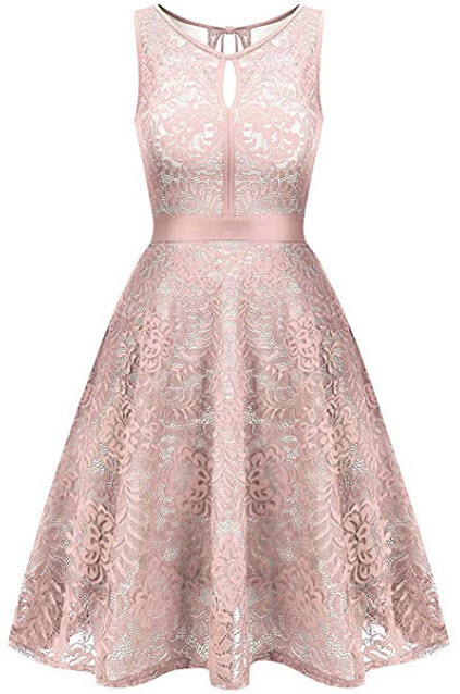Uniboutique Women's Floral Lace Sleeveless Elastic Waist Pleated Swing Party Dress, pink