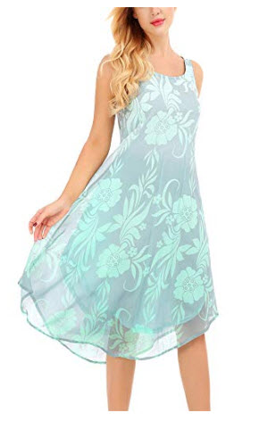 Uniboutique Women's Sleeveless Tie Dye Floral Printed Summer Vacation Dress, green