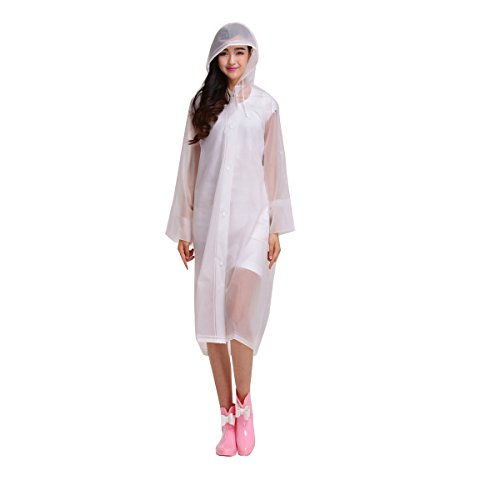 UNIQUEBELLA EVA Raincoat Women Rain Jacket Waterproof Large Poncho White Hooded Long Rainwear