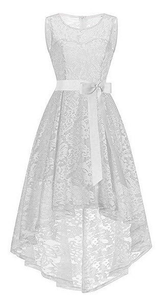 UOFOCO Wedding Bridesmaid Dress for Womens Sleeveless Lace Long Dress Formal Ladies  white