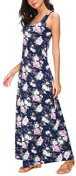 Urban CoCo Women's Floral Print Sleeveless Tank Top Maxi Dress #3